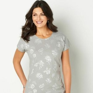 Christopher & Banks Womens Foil Flower Printed Tee
